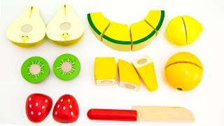 Toy Cutting Velcro Wooden & Plastic Fruits Food Playset Fruta De Madera Para Cortar & Surprise Eggs