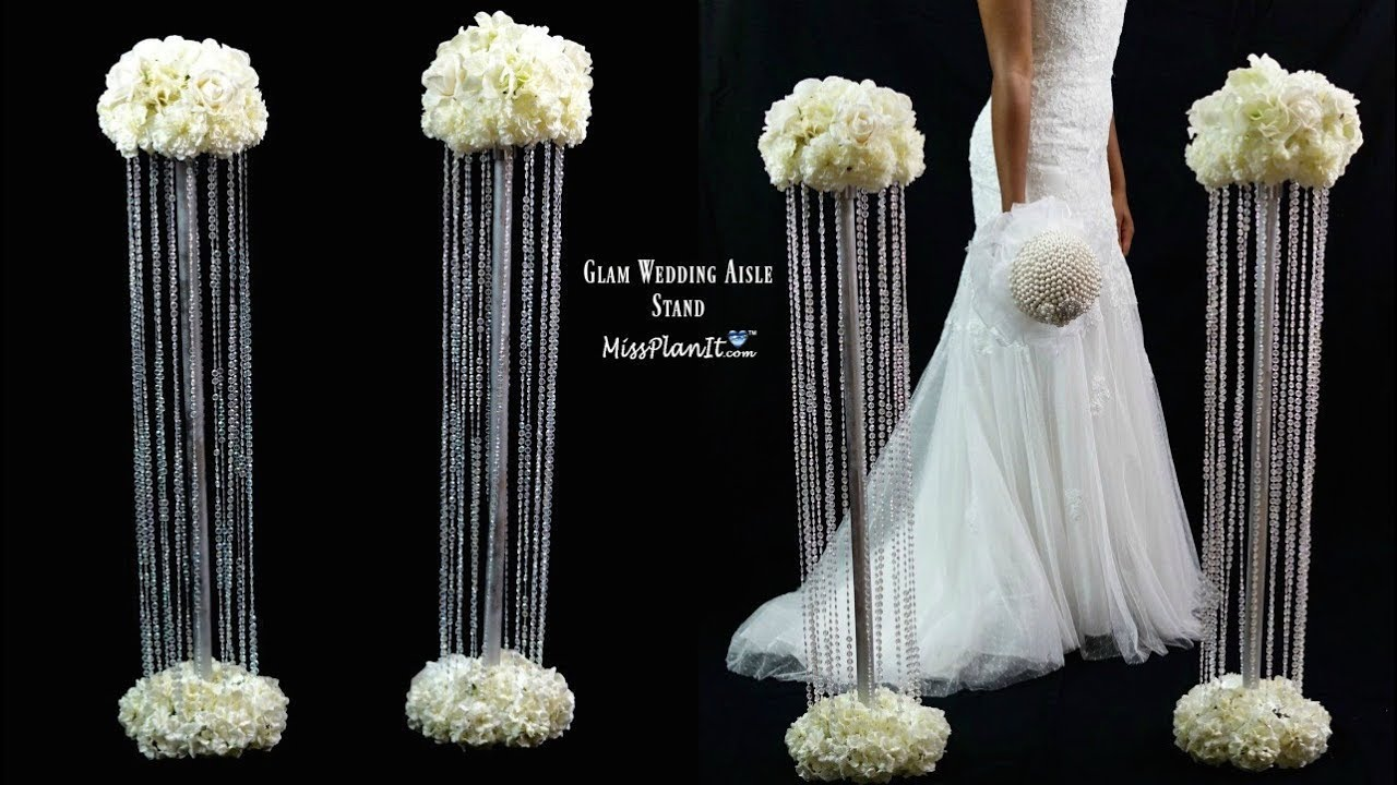 Diy Glam Aisle Wedding Ceremony Decorations Glam Aisle Pillars