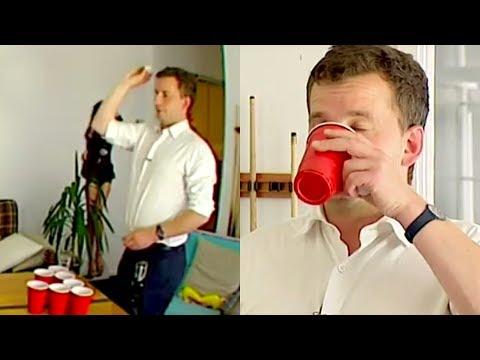 New Zealand politician David Seymour plays beer pong with Newshub junior   Newshub