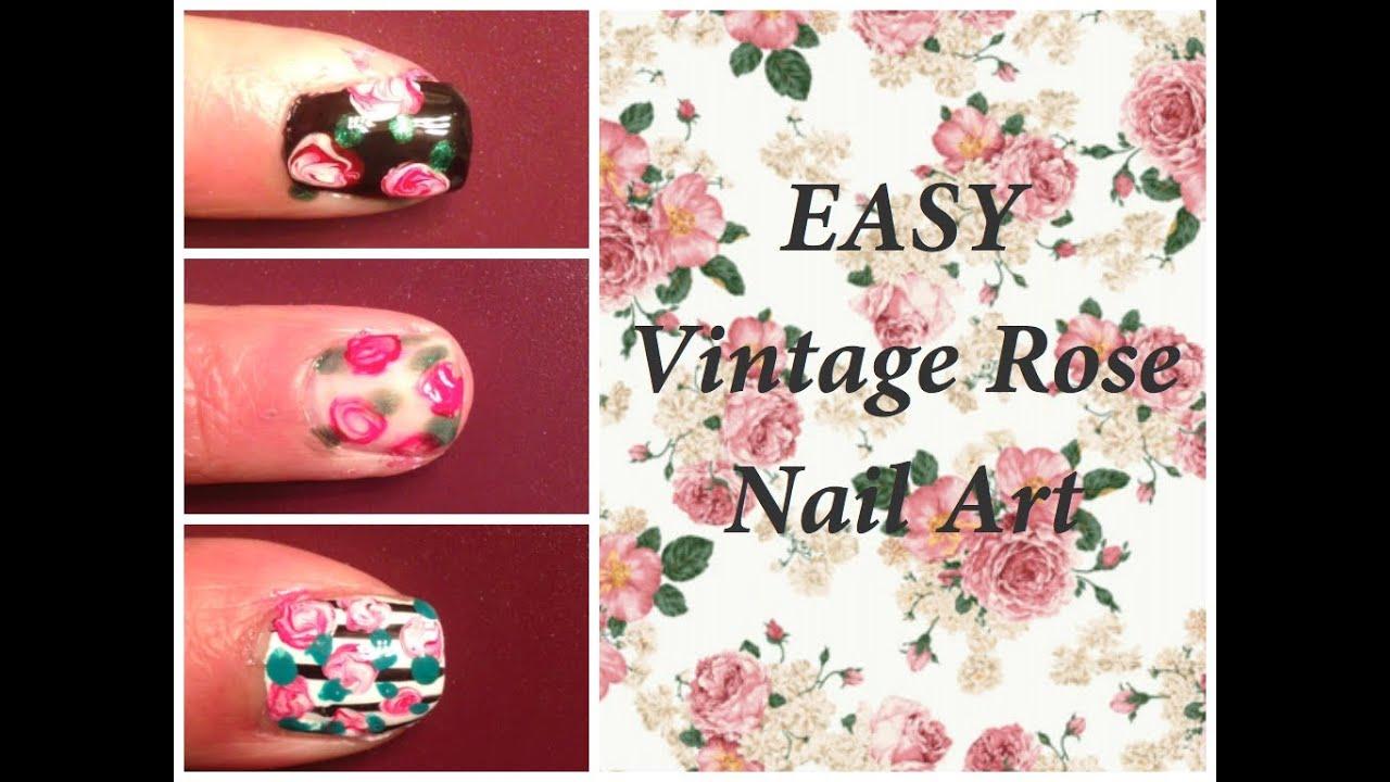 EASY Vintage Rose Nail Art Using Dotting Tool!!!! ♡ - YouTube