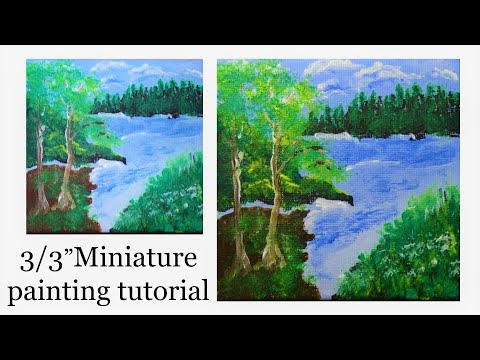 How to Paint Landscape | Morning Scene | with Acrylic | Miniature Painting | Relaxing Art