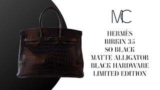 bd5405c77c3a MIGHTYCHIC • Hermes Birkin 35 Bag So Black Matte Alligator Black Hardware  Limited Edition