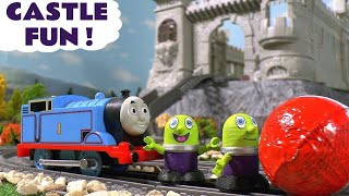 Funny Funlings and Thomas The Tank Engine fun Kinder Surprise egg hunt at the castle TT4U