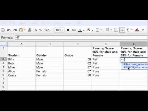 Google Docs Spreadsheet If And Nested If Youtube