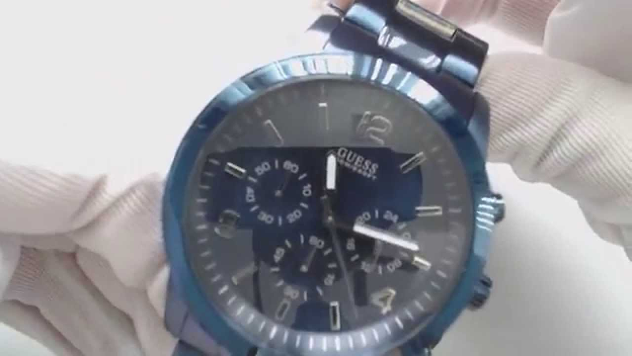 888e950c200 Men s Blue Guess Bold Contemporary Chronograph Watch U0123G3 - YouTube