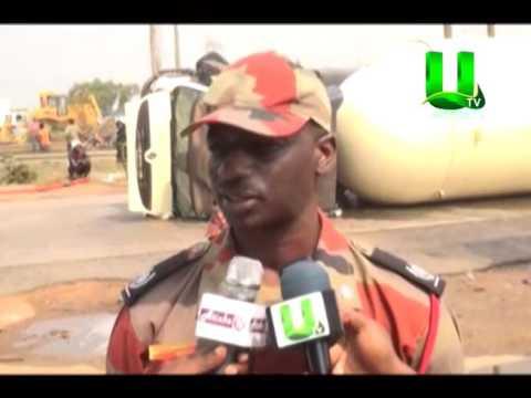 Gas Tanker Overturns On Accra-Tema Motorway