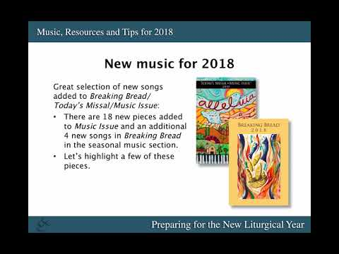Webinar: Music, Resources and Tips for 2018: Preparing for the New Liturgical Year
