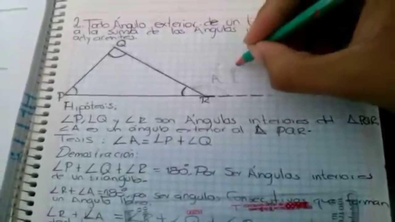 Teoremas Sobre Ngulos Internos Y Externos De Un Tri Ngulo