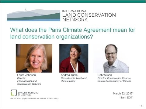 What does the Paris Climate Agreement mean for land conservation organizations?