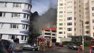 House on fire. Oriental bay, Wellington.