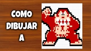 COMO DIBUJAR A DONKEY KONG | Para Minecraft | Pixel Art | How to draw Donkey Kong