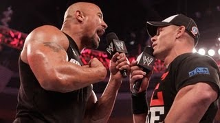 Raw: The Rock and John Cena engage in a WrestleMania war of