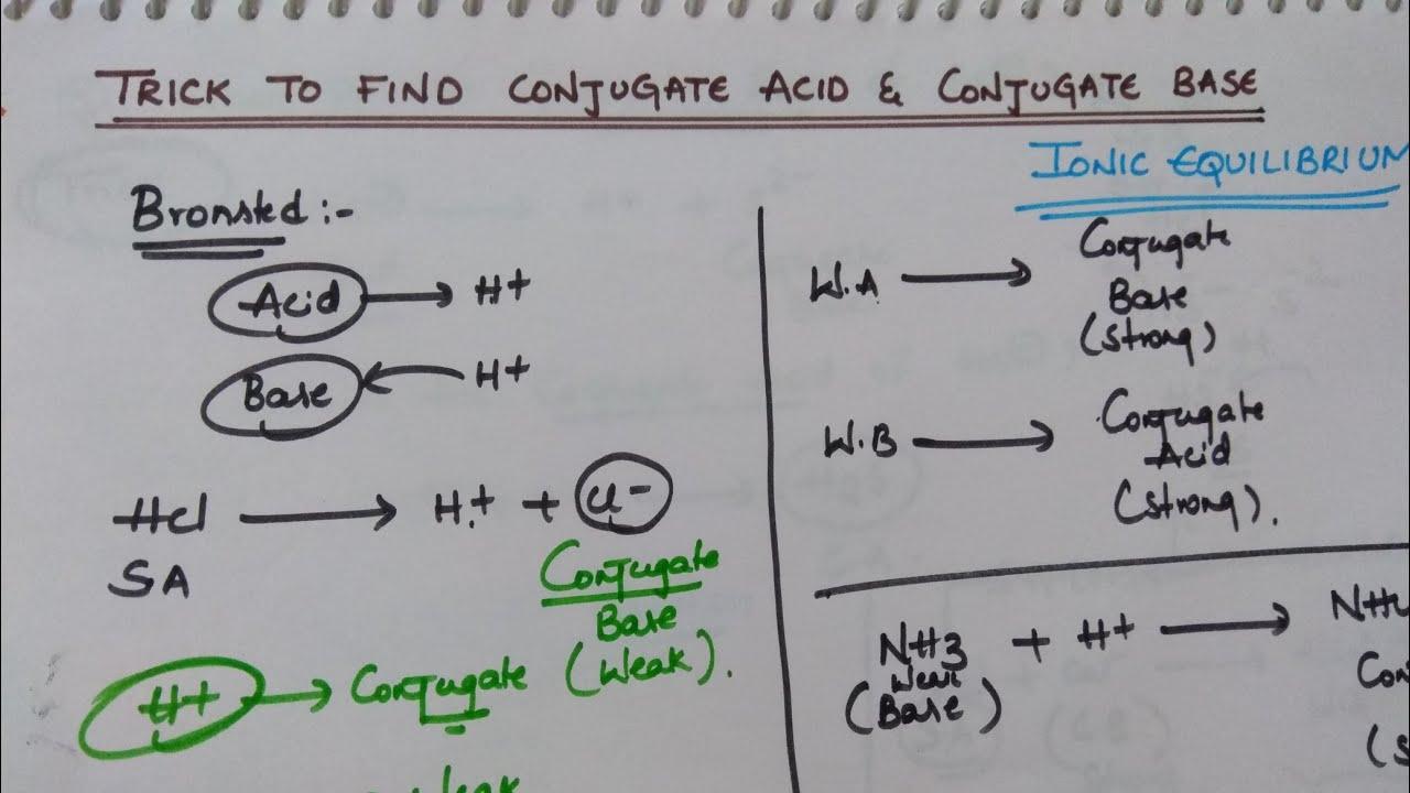 Trick to Find Conjugate Acid and Conjugate Base  Ionic Equilibrium Tricks