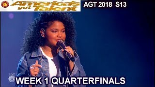 "Amanda Mena  ""What About Us"" AWESOME Spanish-English Quarterfinals 1 America's Got Talent 2018 AGT"