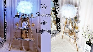 DIY 2 IN 1 SHELVES AND LIGHTING FOR SMALL SPACES| SMALL SPACE DECORATING IDEAS 2019