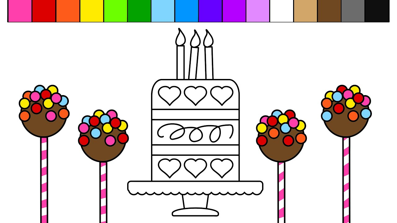 learn colors for kids and color cake pop heart birthday cake