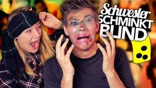 BLIND SCHMINKEN - STUFF YOUR MOUTH Challenge | Joey's Jungle