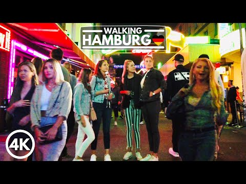 [4K] Hamburg Germany Night Life Walk Tour in 2020 - Summer St. Pauli Reeperbahn