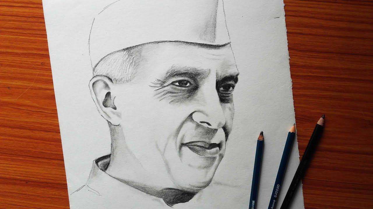 How to draw nehru drawing jawaharlal nehru pandit nehru pencil sketch