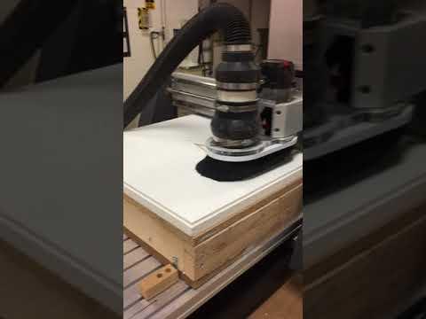 CNC router work on mineral fiber board (ceiling tile)