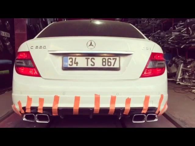 Mercedes-Benz C220 W204 2.2 Dizel Egzoz Sesi, C63 Egzoz Ucu ve Difüzör
