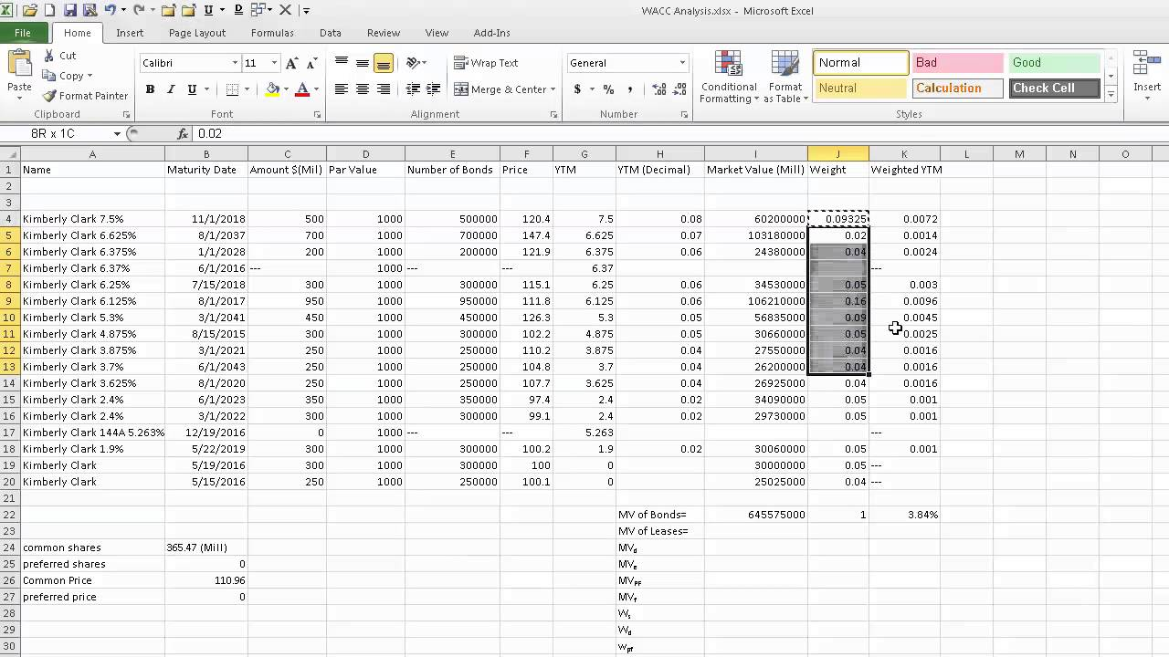 cost of debt spreadsheet explanation wacc project youtube