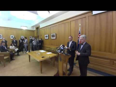 John Key and Peter Dunne announce confidence and supply agreement
