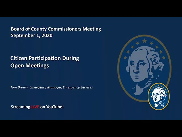 Board of County Commissioners Meeting:  Tuesday, September 1, 2020