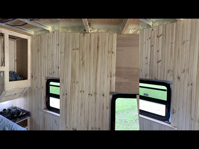 RV Trailer Build #125 - Tongue and Groove on Bedroom and Kitchen Walls