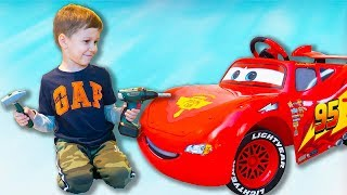 Tema ride on toys Test Drive Lightning McQueen and play with Magic toys