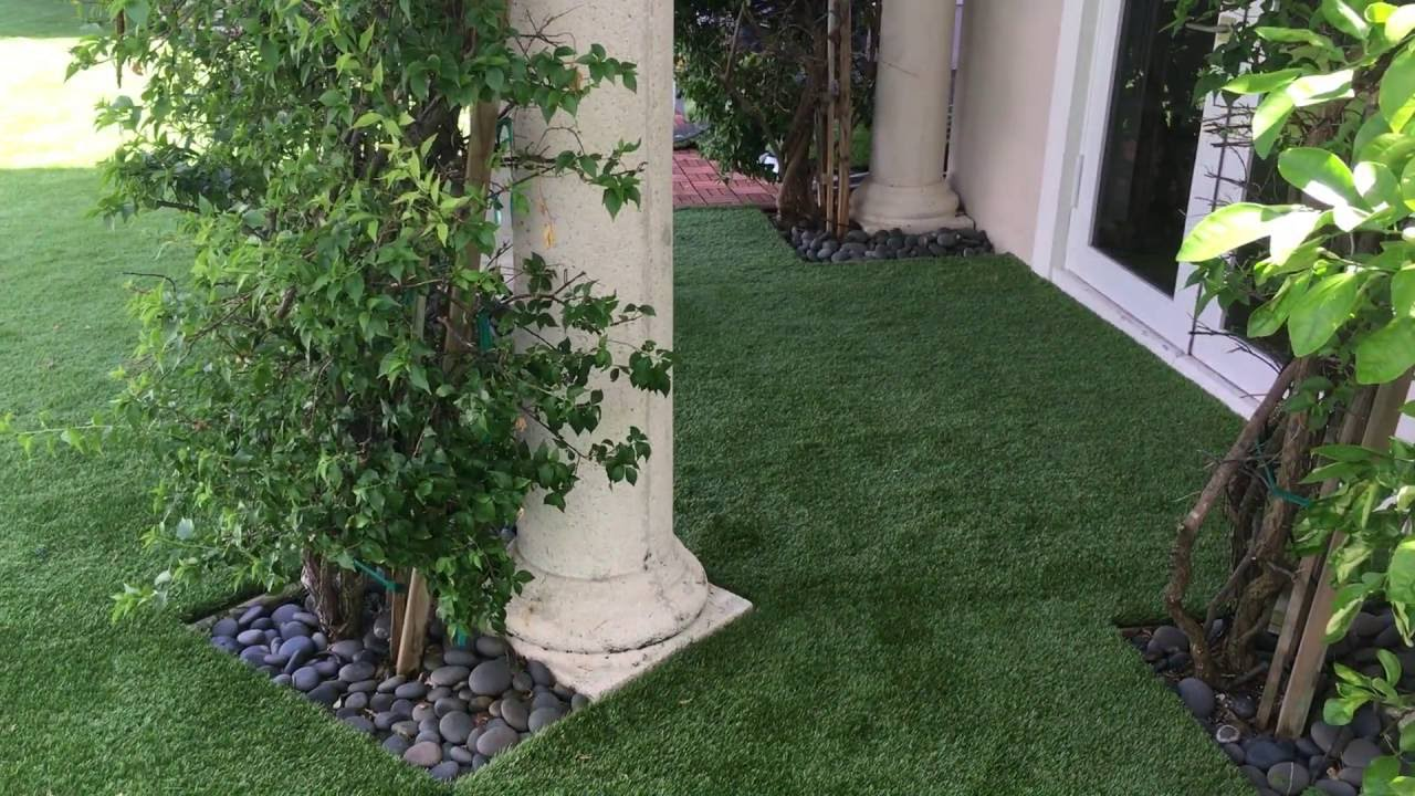 artificial grass backyard pool area youtube