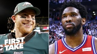 Philly fans care more about Carson Wentz's health than Joel Embiid's - Stephen A. | First Take