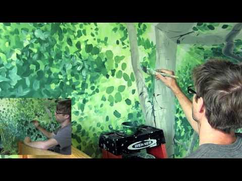 Painting a cherry blossom tree mural joe funnycat tv for Mural joe painting