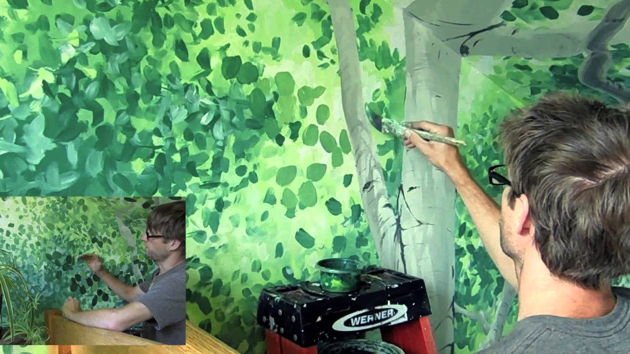 & How To Paint A Canopy Of Leaves - YouTube
