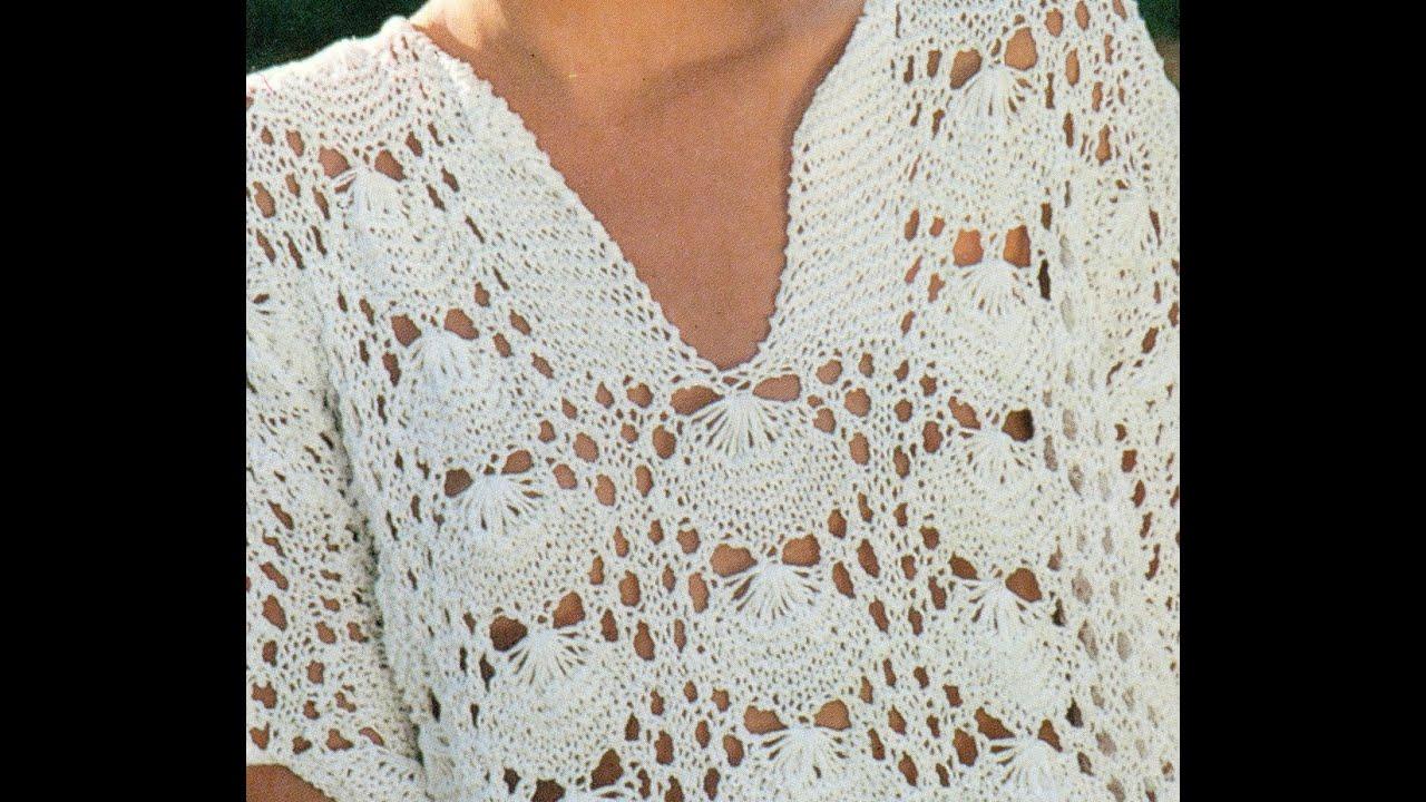 Patrón para tejer blusa puntada caracolas de mar - YouTube