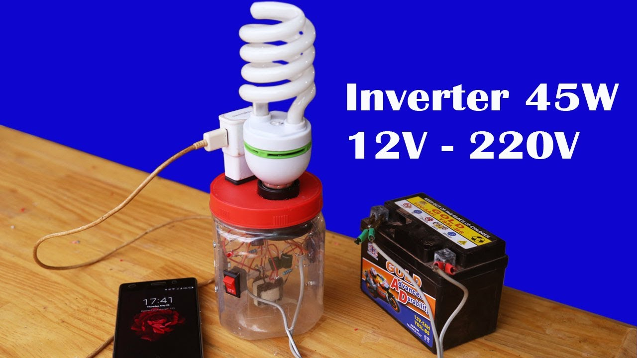 How To Make Easy Mini Inverter 12v To 220v Circuit 45w