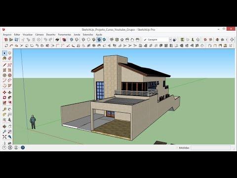 Sketchup 2015 aula 37 eliminando linhas e aplicando for Casa moderna sketchup download