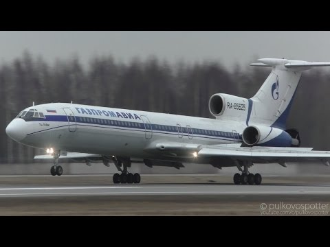 RARE CLOSE-UP | TUPOLEV TU-154M Gazpromavia | LOUD landing at St. Petersburg airport