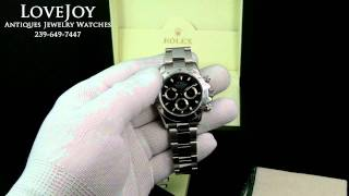 Rolex Mens Daytona Black Dial 116520 Box & Papers Steel