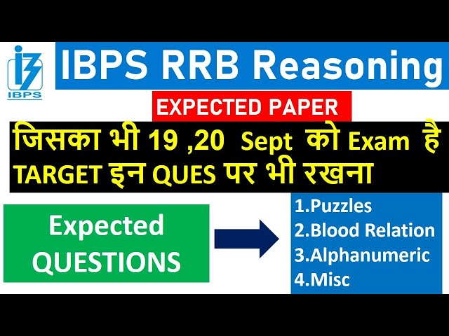 IBPS RRB CLERK Expected Reasoning Paper With Puzzles and Misc | For 19,20 Sept EXAM Special Video