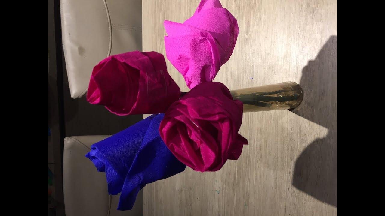 Idee bricolage enfant fleur en papier crepon youtube - Fleur en crepon ...