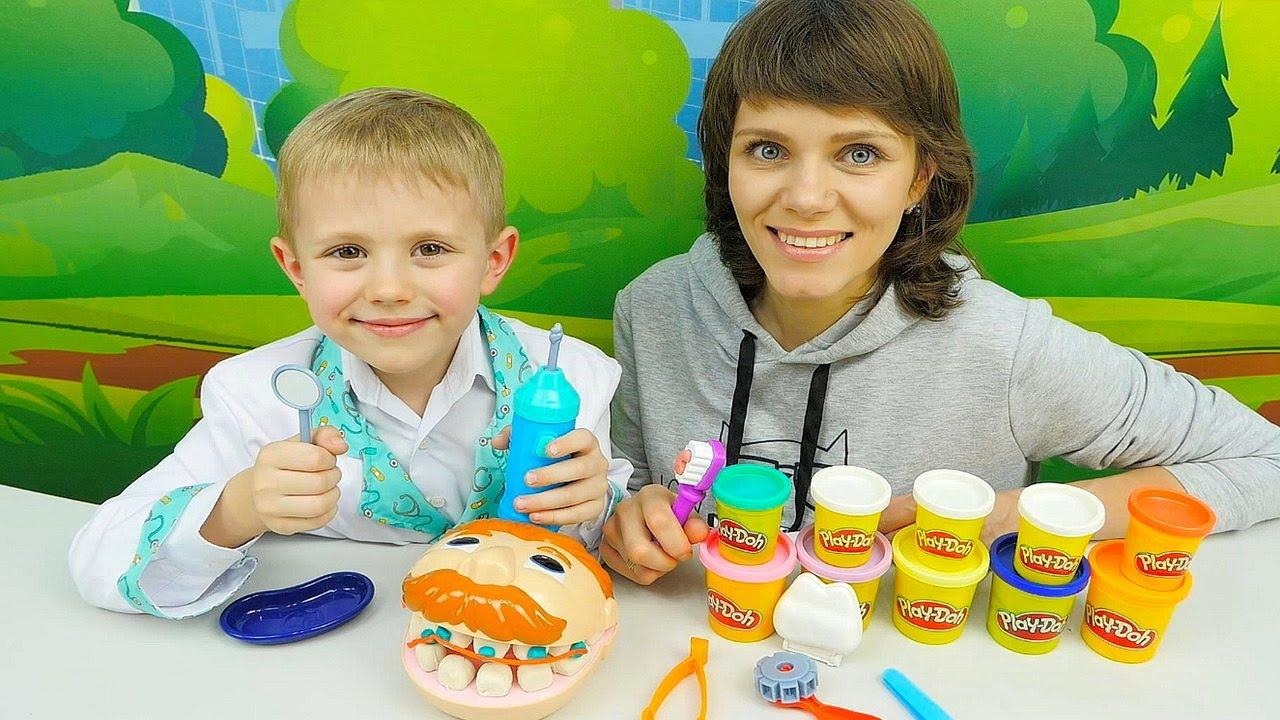 Мистер Зубастик от Play Doh и Доктор Даник с мамой Людой - Плей До Видео для Детей