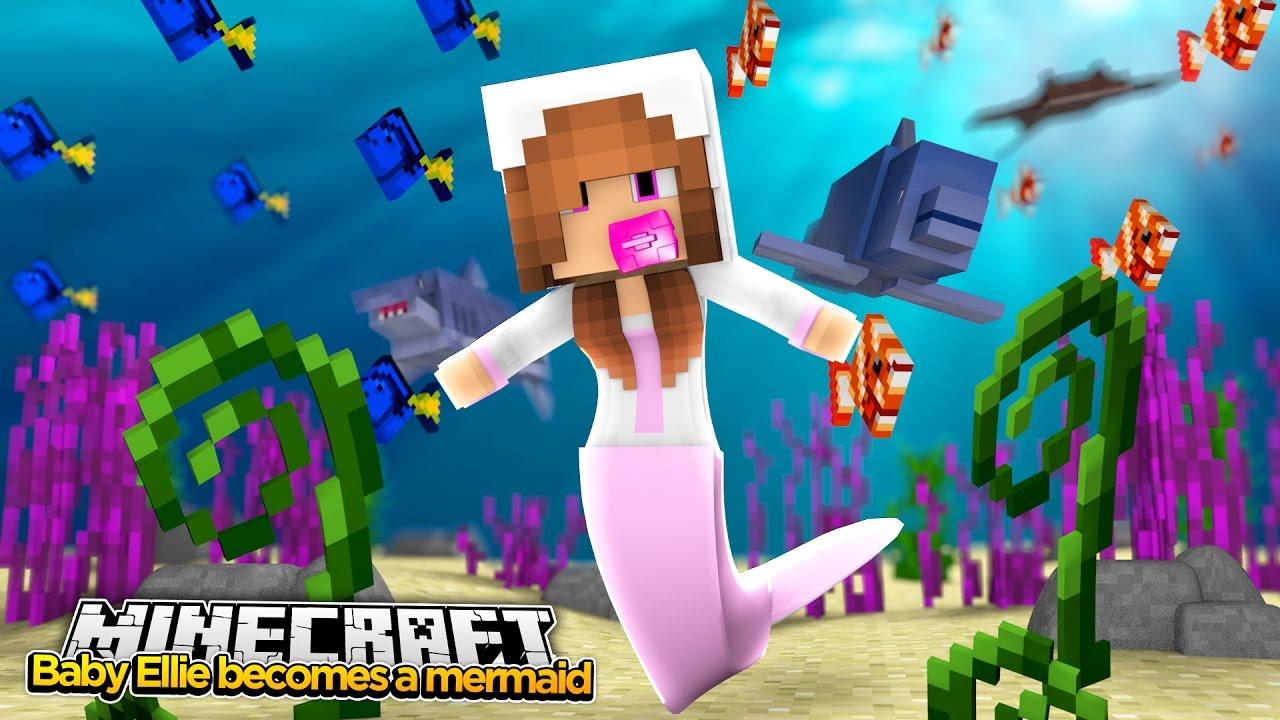 Minecraft Little Kelly BABY ELLIE TURNS INTO A MERMAID