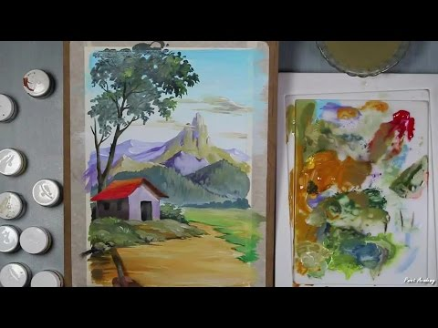Acrylic Painting | How to Paint A Mountain Landscape in Acrylic