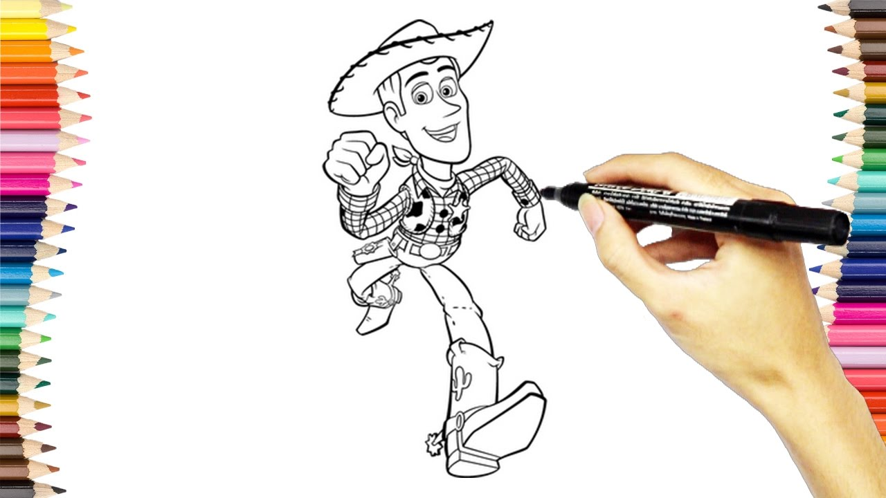 Drawing Woody in Toy Story Coloring Pages | How To Draw ...