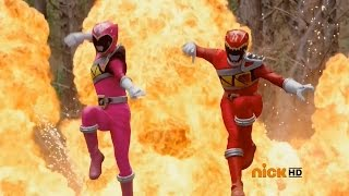 "Power Rangers Dino Charge - Red and Pink Rangers' First Fight | Episode 1 ""Powers From the Past"""