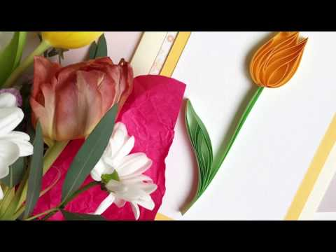 QllArt / Quilling filigree pattern / How to make quilling tulip card