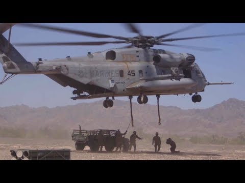 SUPER POWERFUL CH-53 Helicopter Air Lift Humvee, Howitzer.