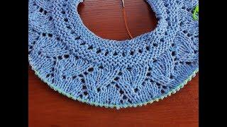 Пуловер спицами (круглая кокетка). Часть 3. Кокетка 1-16 ряд.