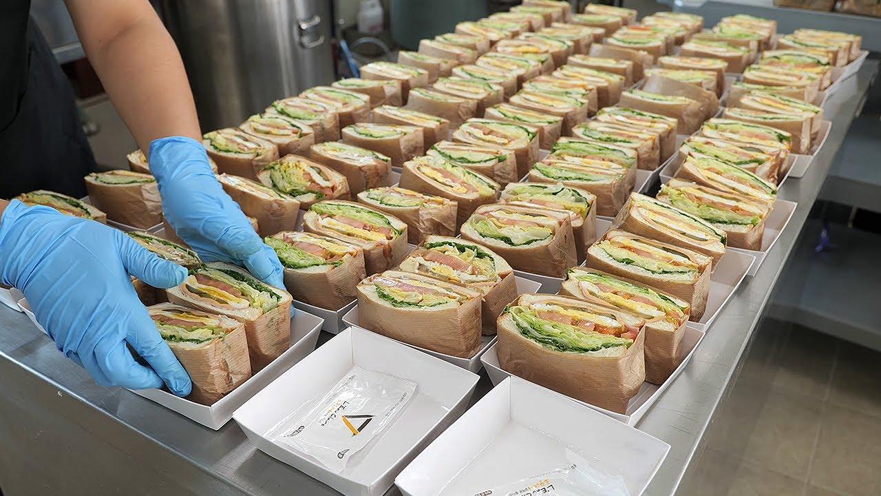 Download 클럽 샌드위치 만들기 달인 / club sandwich - ham and fried egg sandwich / korean street food